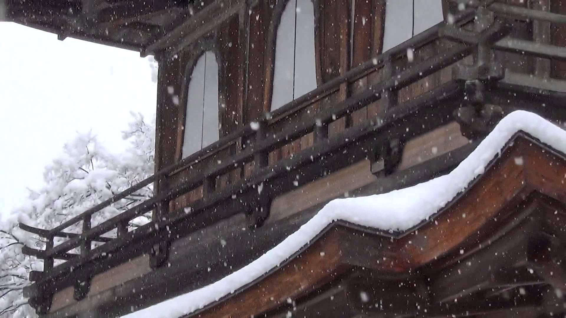 待望の雪化粧銀閣寺が登場。後ろの自然豊かな山々に囲まれた立地、雪に覆われた庭の中の風格ある銀閣寺にうっとり
